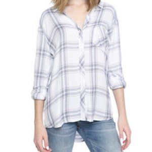 Rails Plaid Flannel White Pink Button-Down Shirt M
